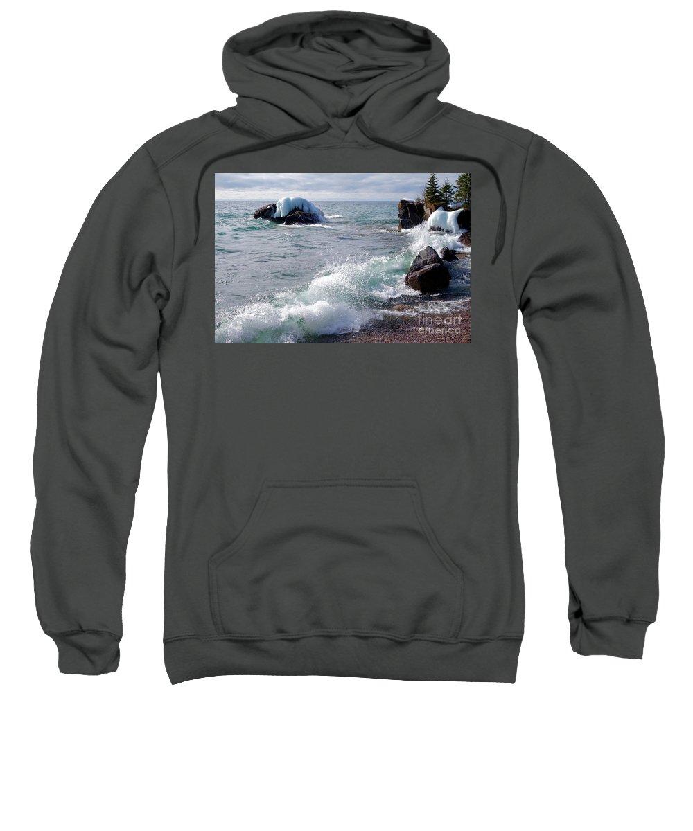 Lake Superior Sweatshirt featuring the photograph Morning Waves by Sandra Updyke