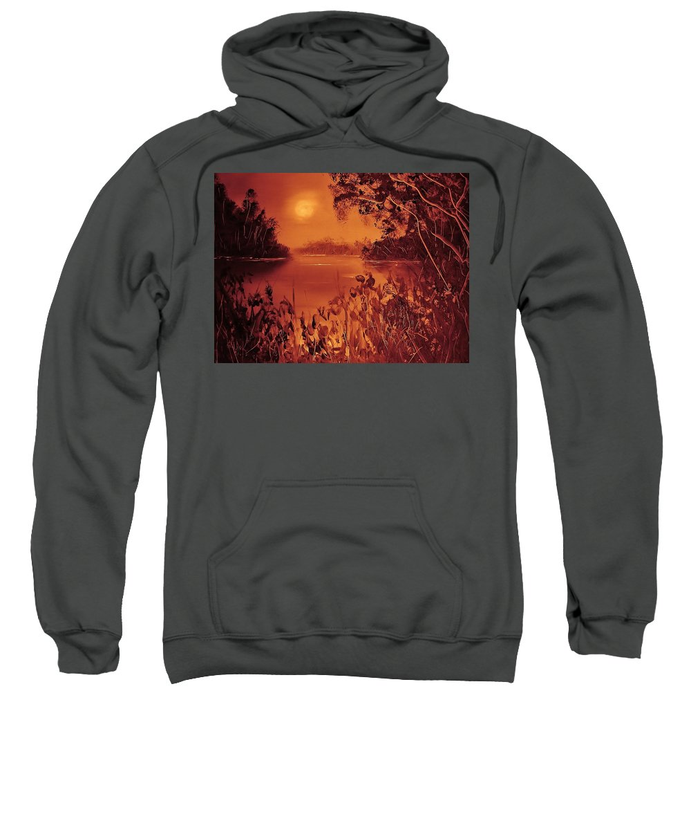 Landscape Sunset Sweatshirt featuring the painting Mosquito Sunset by Eugene Budden