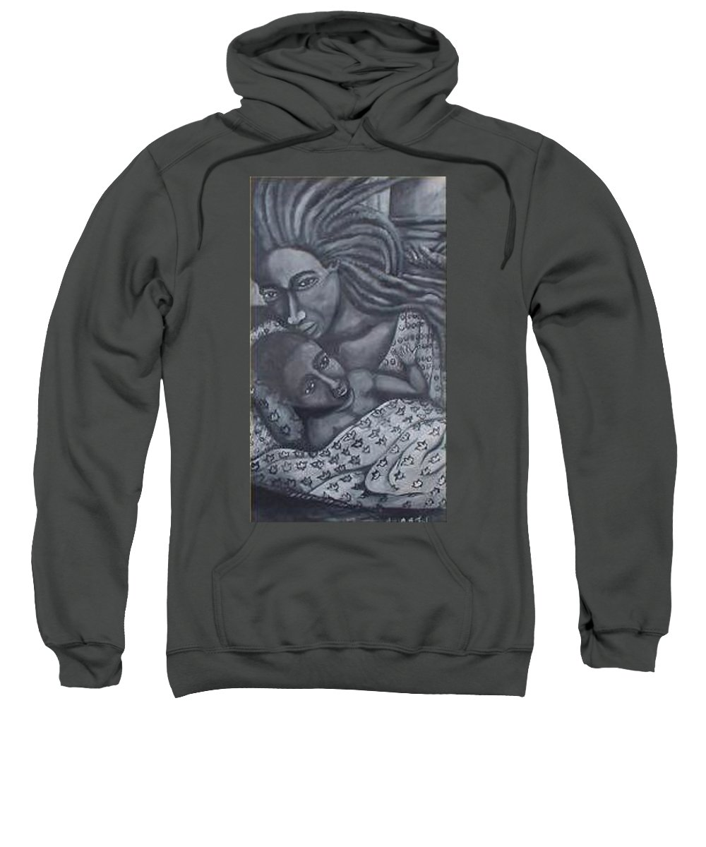 Mother Taking Care Of Child Sweatshirt featuring the painting Mother And Son by Andrew Johnson