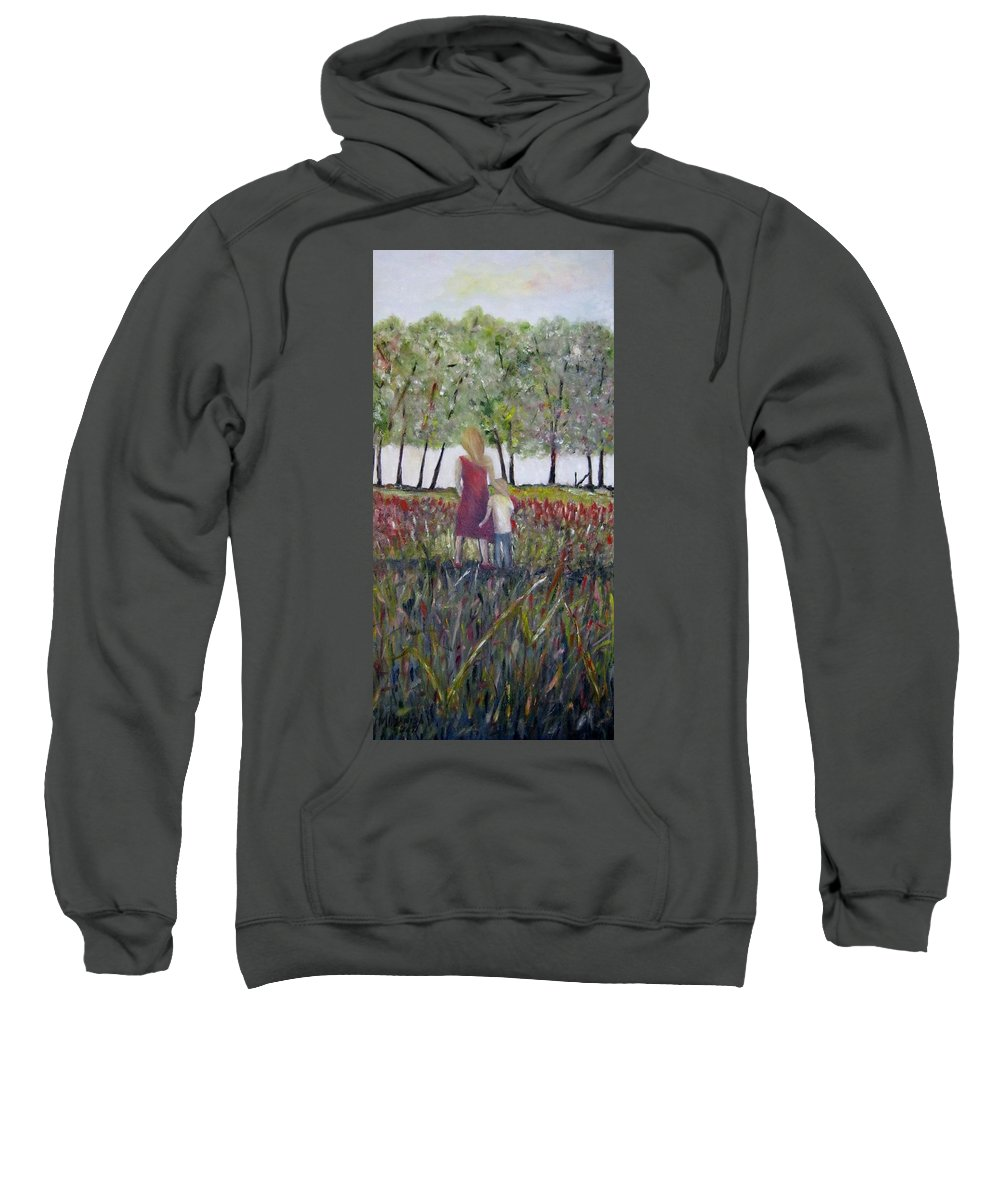 Mother And Son Sweatshirt featuring the painting Mother And Son by Marilyn McNish