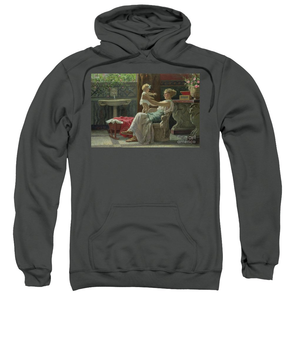Baby; Roman; Fountain; Interior; Classicising; Classical; Antique; Scene; Mother; Child; Cradle; Maternal; Maternity; Love; Family; Smile; Laughing; Playing; Ribbon Sweatshirt featuring the painting Mother's Darling by Zocchi Guglielmo