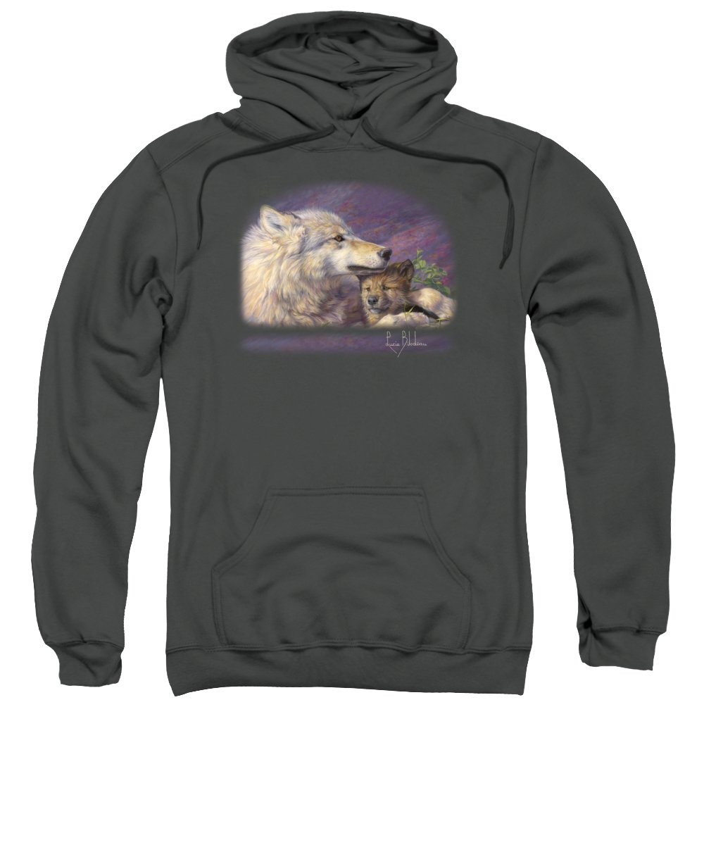 Wolf Sweatshirt featuring the painting Mother's Love by Lucie Bilodeau