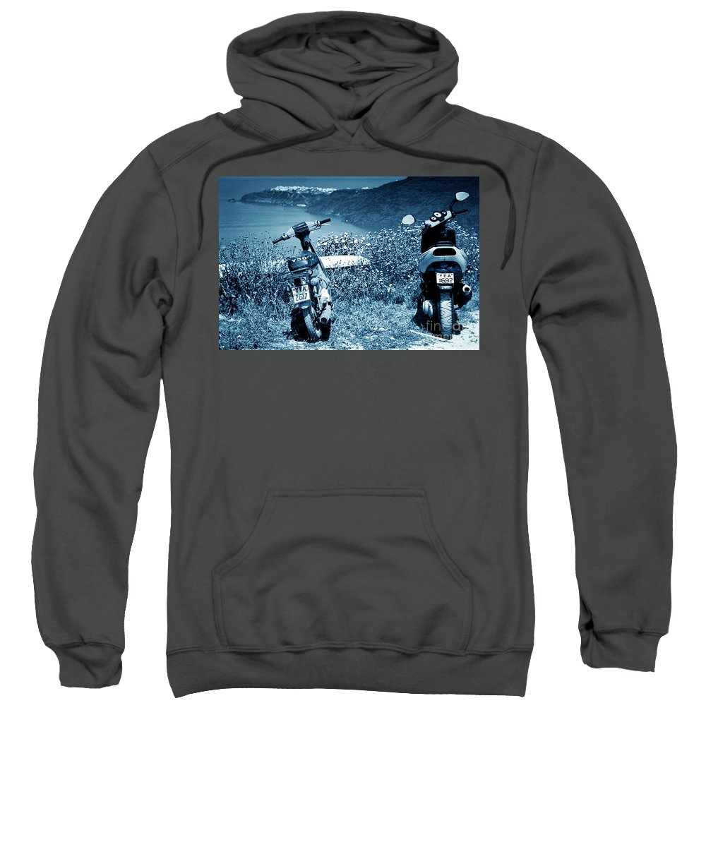 Motor Scooters Sweatshirt featuring the photograph Motor Scooters In Greece by Madeline Ellis