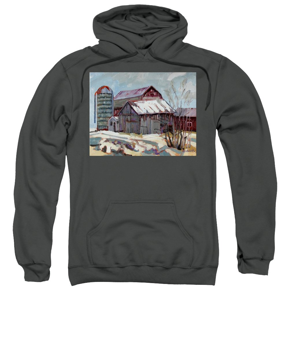 Berryton Sweatshirt featuring the painting Moultons Barns by Phil Chadwick