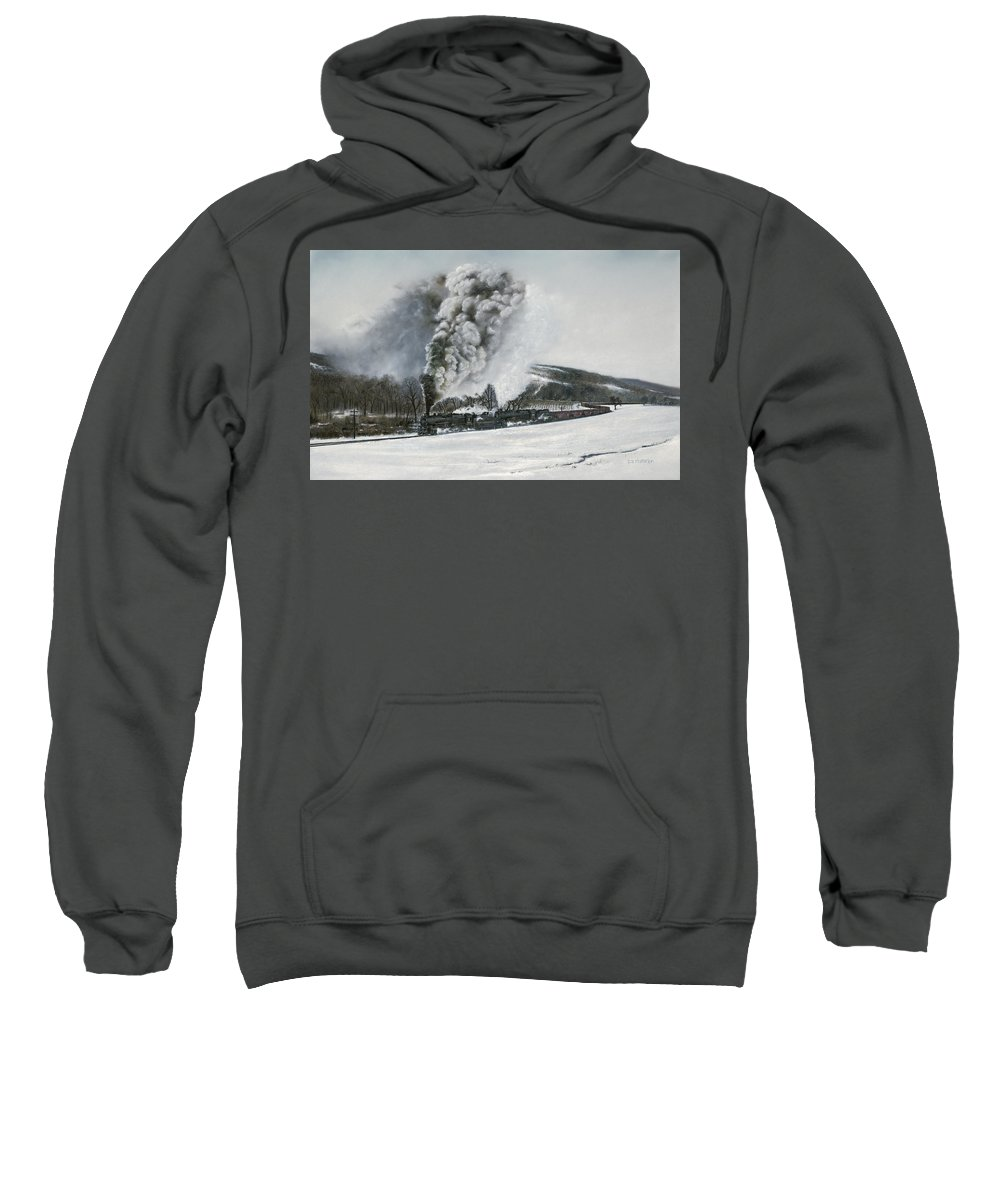 Trains Sweatshirt featuring the painting Mount Carmel Eruption by David Mittner