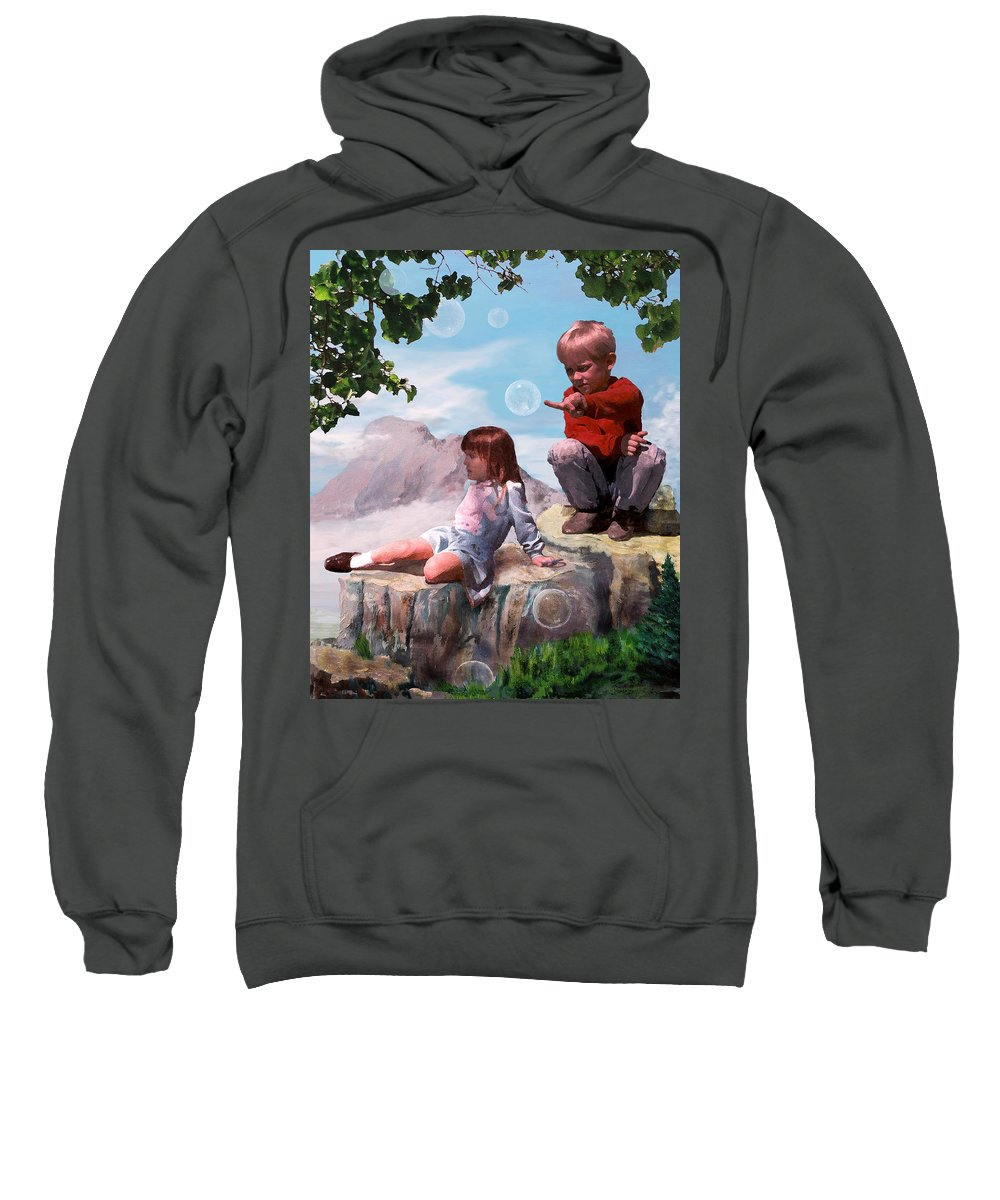 Landscape Sweatshirt featuring the painting Mount Innocence by Steve Karol