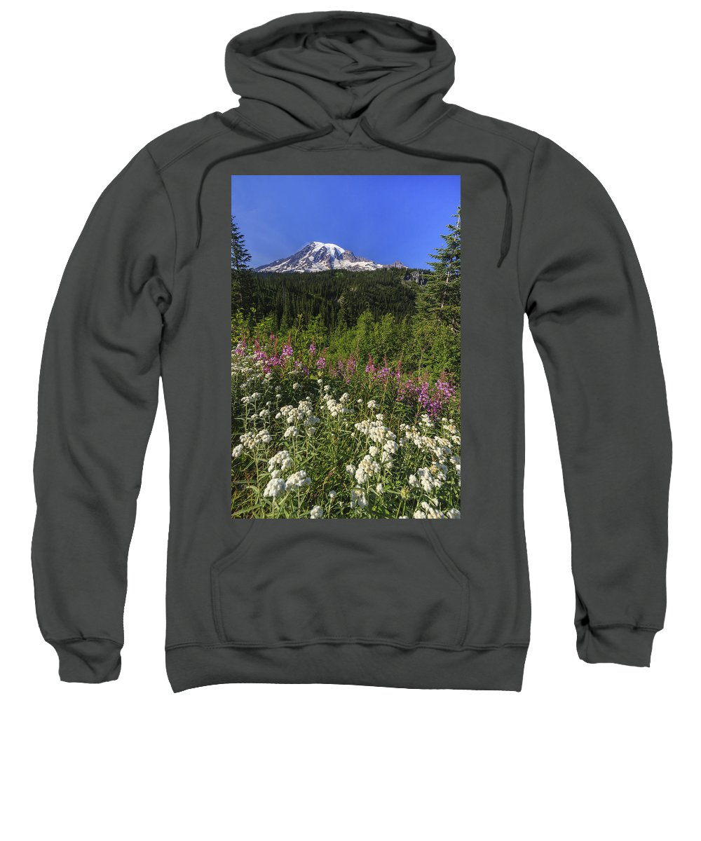 3scape Sweatshirt featuring the photograph Mount Rainier by Adam Romanowicz