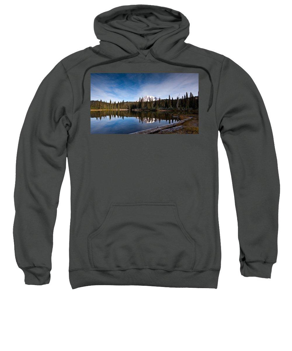 Mount Rainier Sweatshirt featuring the photograph Mount Rainier Reflection by Mike Reid