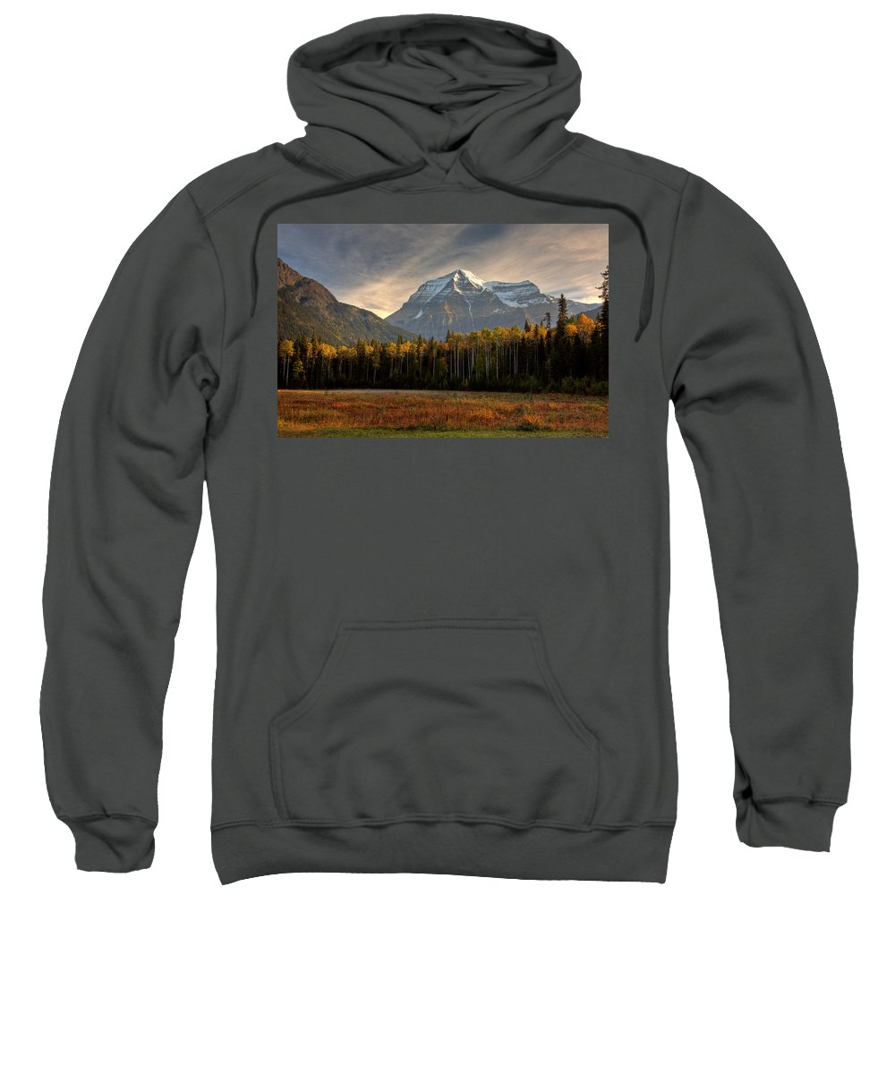 Meadow Sweatshirt featuring the digital art Mount Robson In Autumn by Mark Duffy