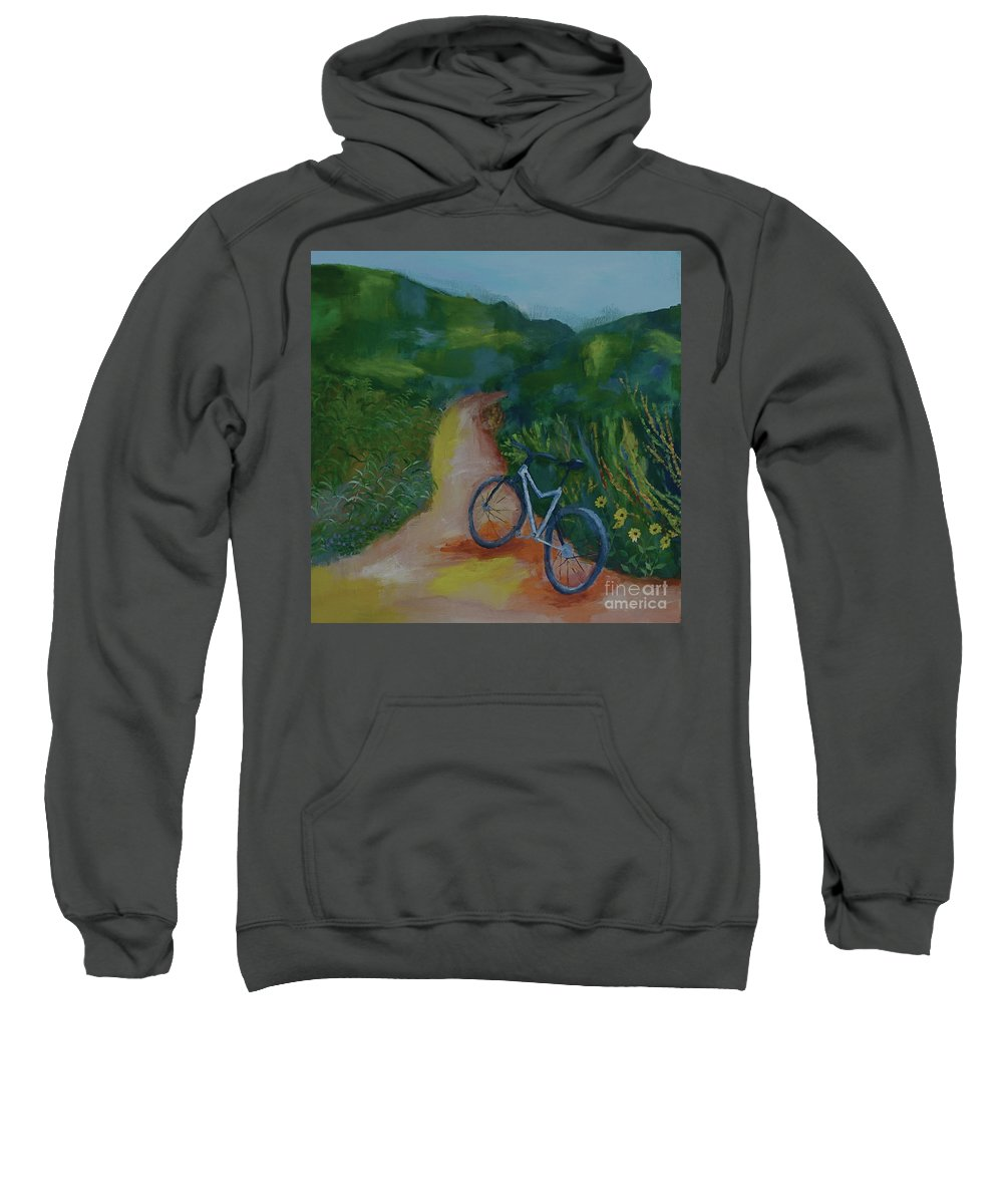 Mountain Biking Sweatshirt featuring the painting Mountain Biking In The Santa Monica Mountains by Stacey Best