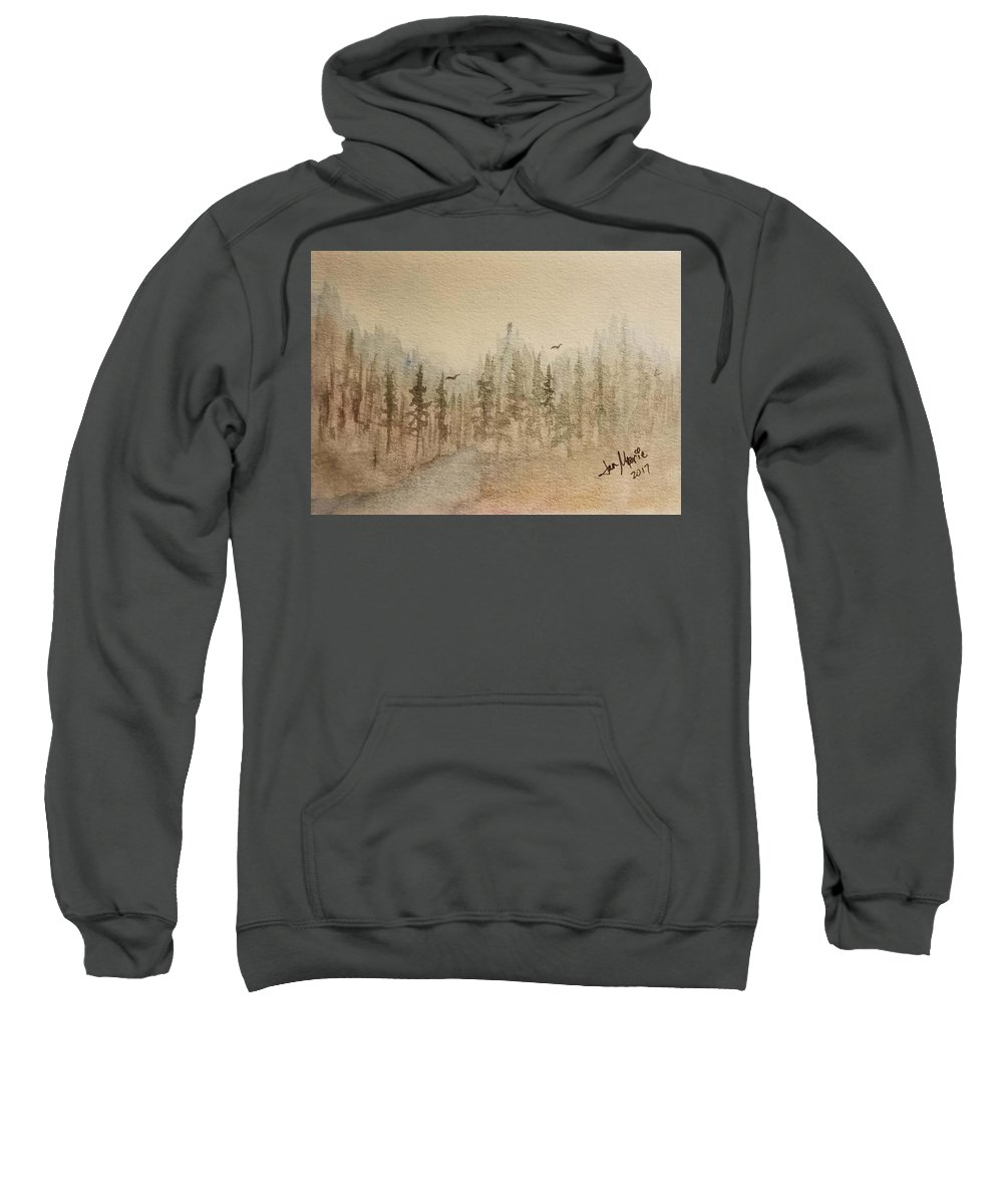 Sweatshirt featuring the painting Mountain Evergreens by Jan Marie