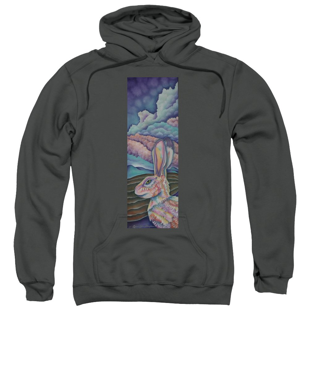 Rabbit Sweatshirt featuring the painting Mountain King by Jeniffer Stapher-Thomas