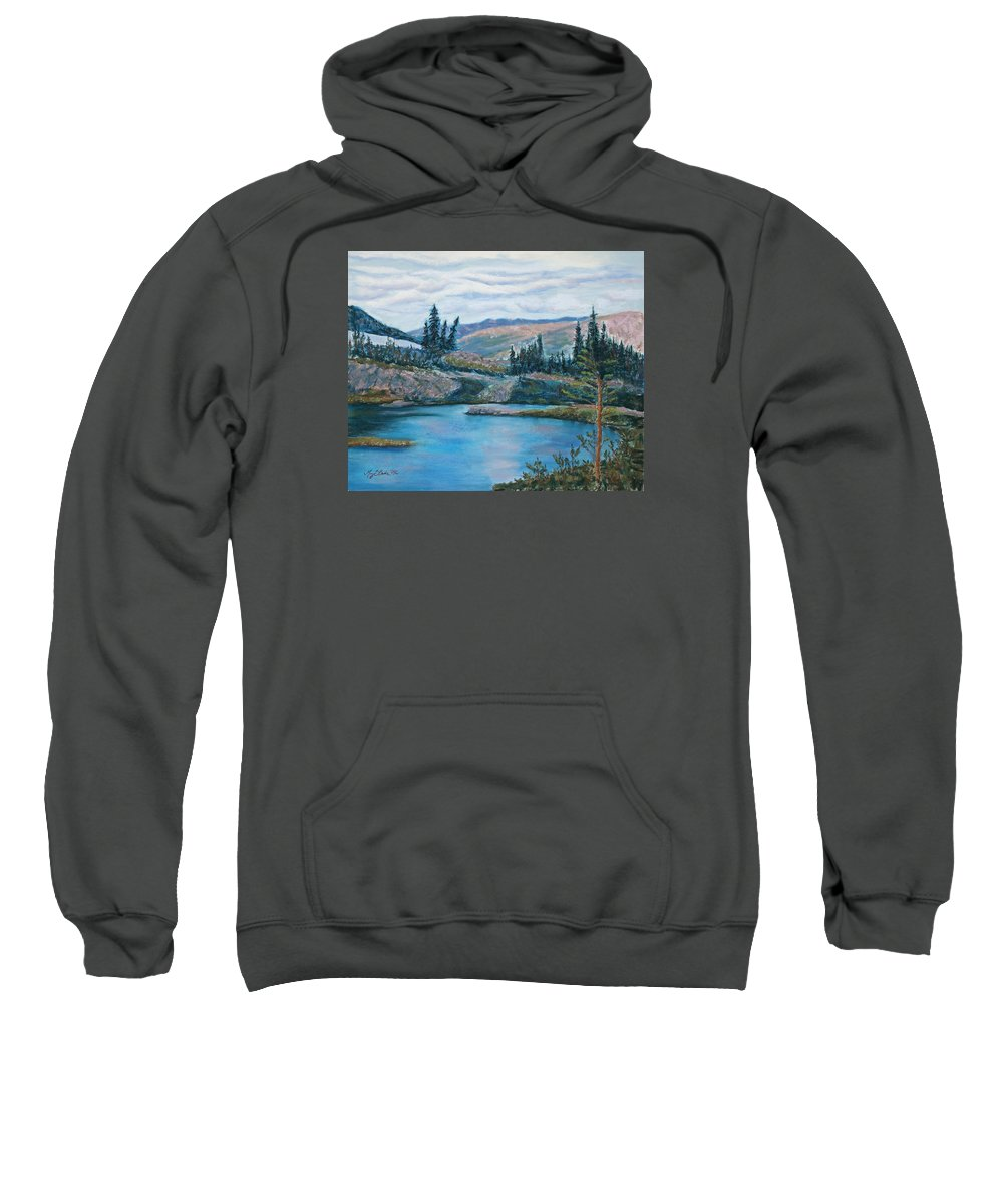 Mountain Sweatshirt featuring the painting Mountain Lake by Mary Benke