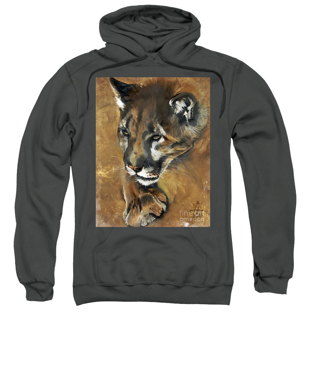 Southwest Art Sweatshirt featuring the painting Mountain Lion - Guardian Of The North by J W Baker