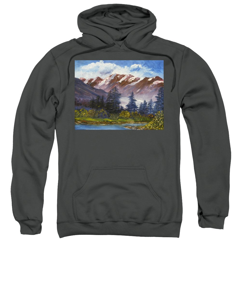 Oil Painting Sweatshirt featuring the painting Mountains I by Lessandra Grimley
