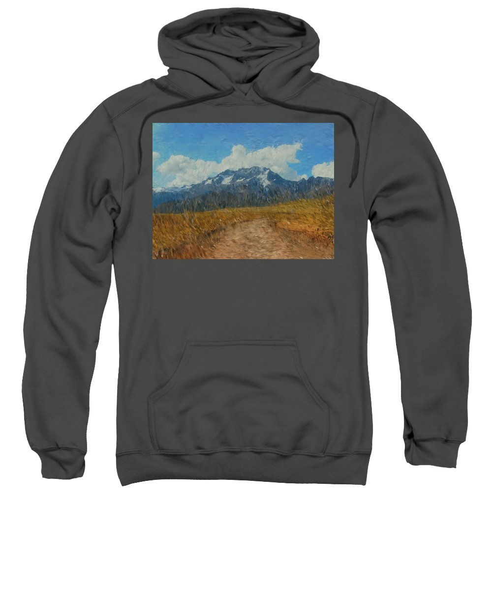 Abstract Digital Painting Sweatshirt featuring the photograph Mountains In Puru by David Lane