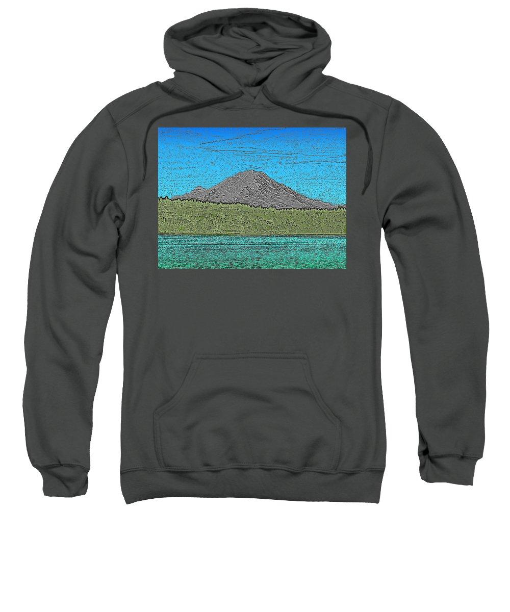 Mountain Sweatshirt featuring the digital art Mountains Majesty by Tim Allen