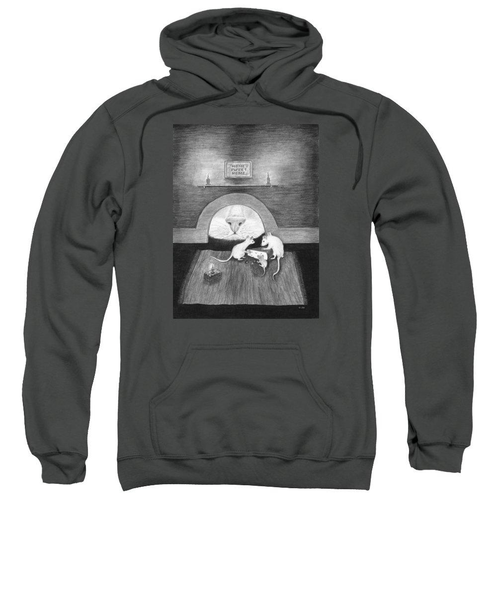 Karen Zuk Rosenblatt Art And Photography Sweatshirt featuring the painting Mouse Hole by Karen Zuk Rosenblatt