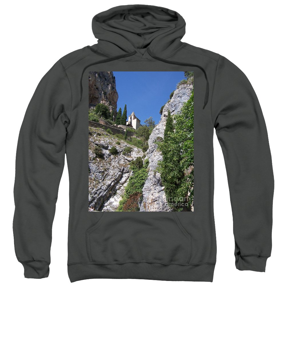 Church Sweatshirt featuring the photograph Moustier St. Marie Church by Nadine Rippelmeyer