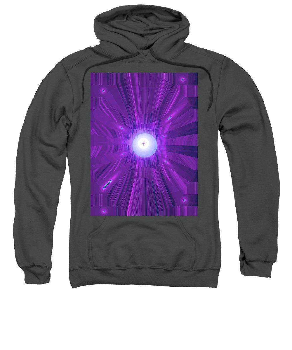 Moveonart! Digital Gallery Sweatshirt featuring the digital art Moveonart Abstract Cross In Purple by Jacob Kanduch