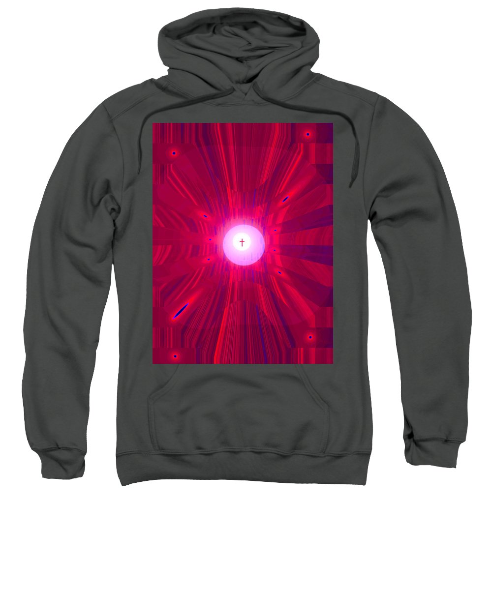Moveonart! Digital Gallery Sweatshirt featuring the digital art Moveonart Abstract Cross In Red by Jacob Kanduch