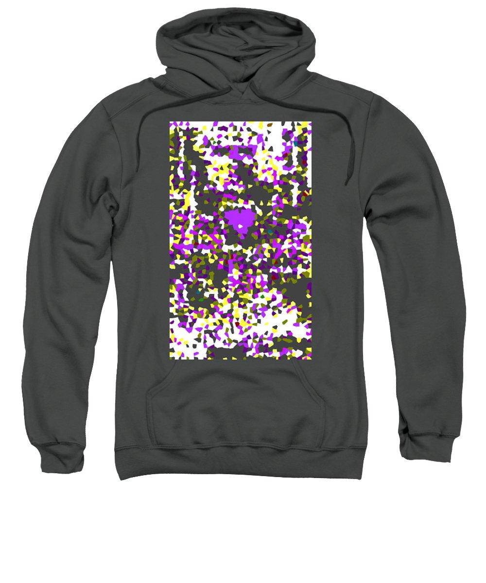 Moveonart! Digital Gallery Sweatshirt featuring the digital art Moveonart Abstract Visual Therapy With Purple Heart by Jacob Kanduch