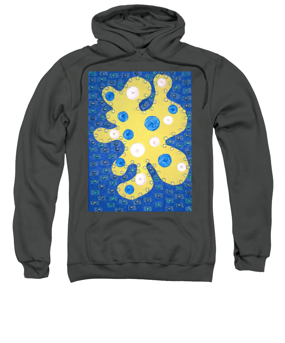Moveonart! Digital Gallery Sweatshirt featuring the painting Moveonart Yellow Amoeba by Jacob Kanduch