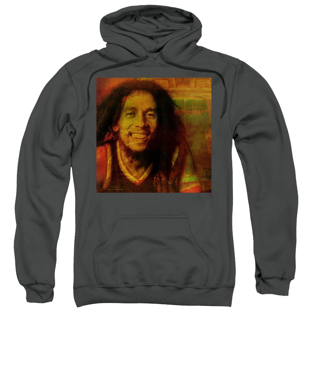 Marley Sweatshirt featuring the painting Movie Icons - Bob Marley I by Joost Hogervorst