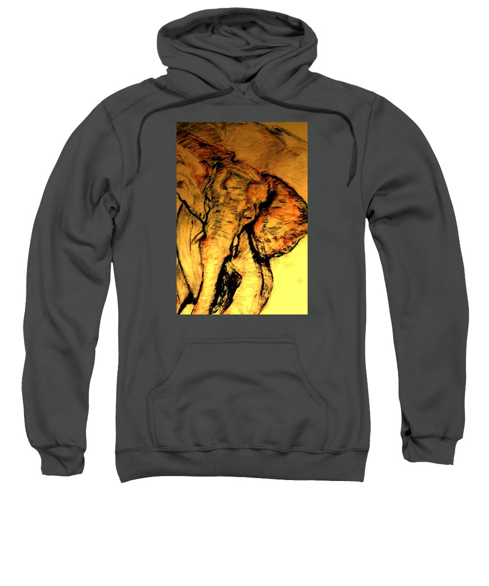 Pastel; African Wildlife; African Elephant; Wildlife Sweatshirt featuring the drawing Moving Elephant by Arlene Rabinowitz
