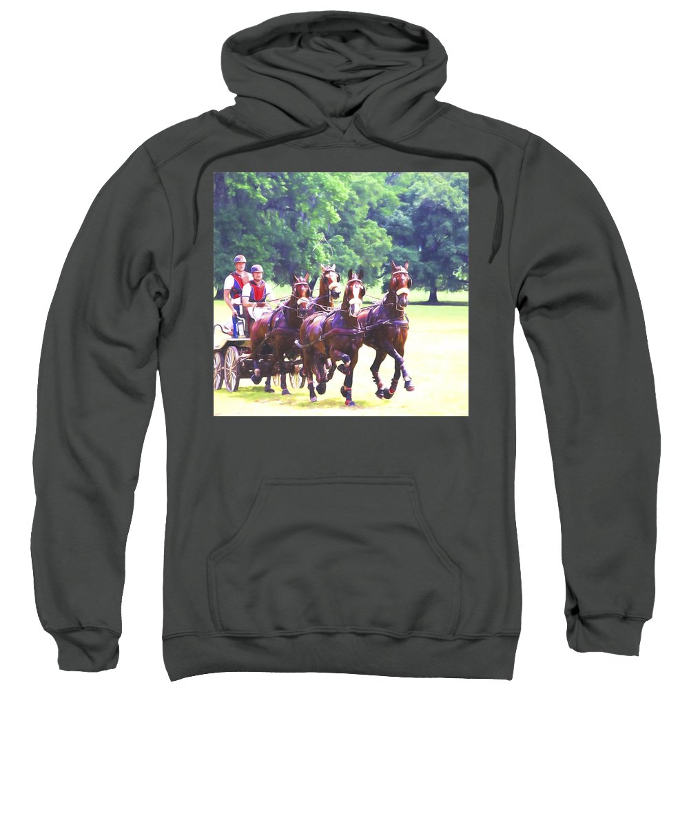 Horses Sweatshirt featuring the photograph Moving Quickly by Alice Gipson