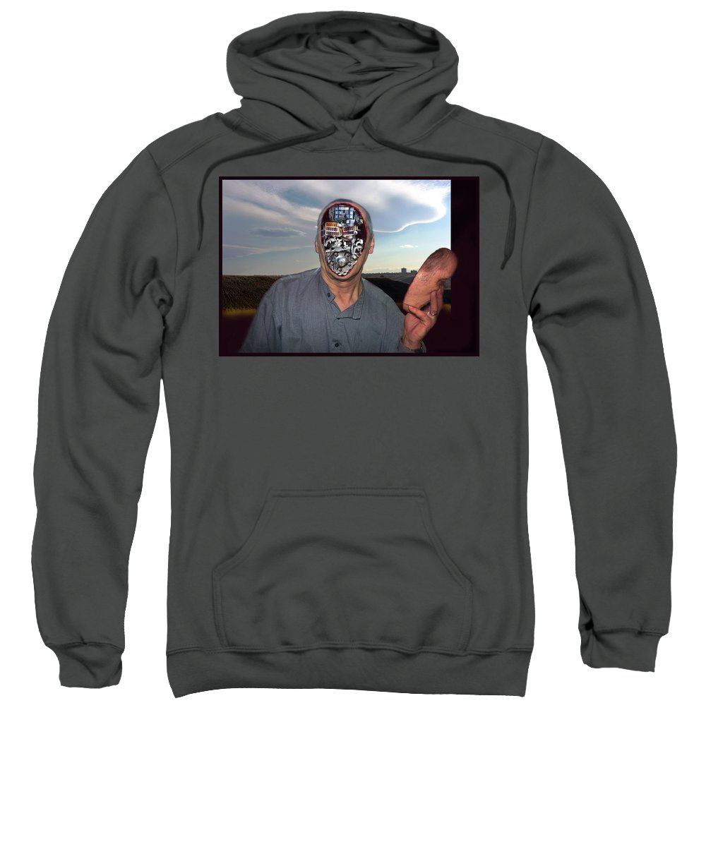 Surrealism Sweatshirt featuring the digital art Mr. Robot-otto by Otto Rapp
