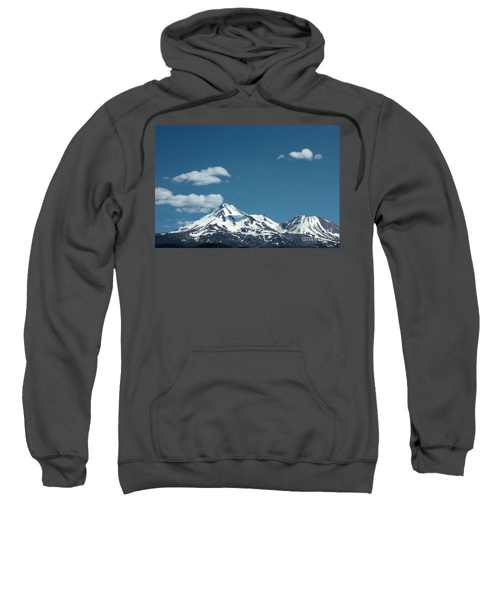 Cloud Sweatshirt featuring the photograph Mt Shasta With Heart-shaped Cloud by Carol Groenen