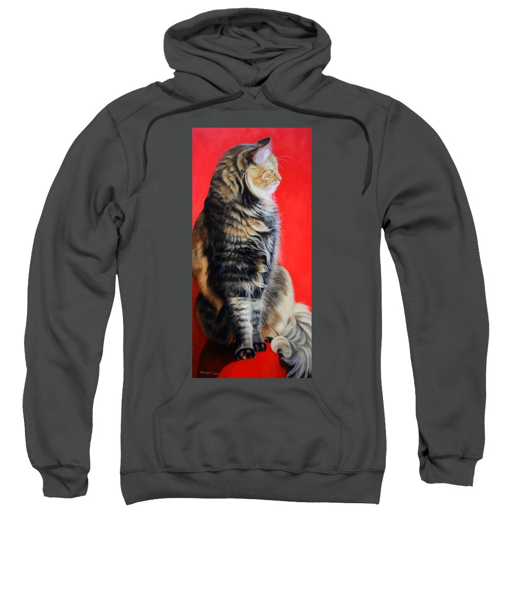 Cat Sweatshirt featuring the painting Multicolored Cat In Red Background by Susana Falconi