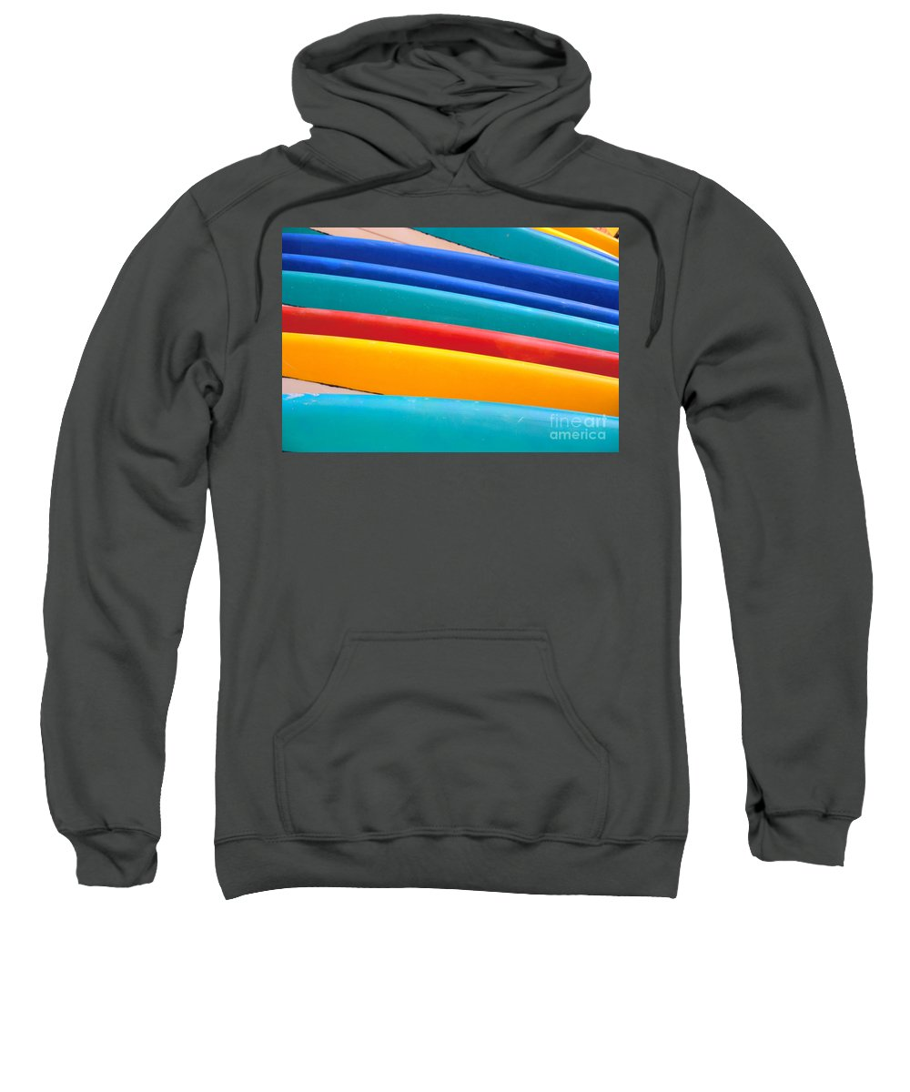 Aqua Sweatshirt featuring the photograph Multitude Of Surfboards by Vince Cavataio - Printscapes