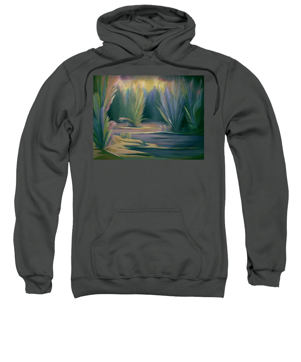 Feathers Sweatshirt featuring the painting Mural Field Of Feathers by Nancy Griswold