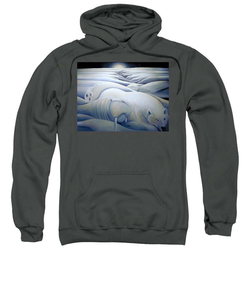 Mural Sweatshirt featuring the painting Mural Winters Embracing Crevice by Nancy Griswold