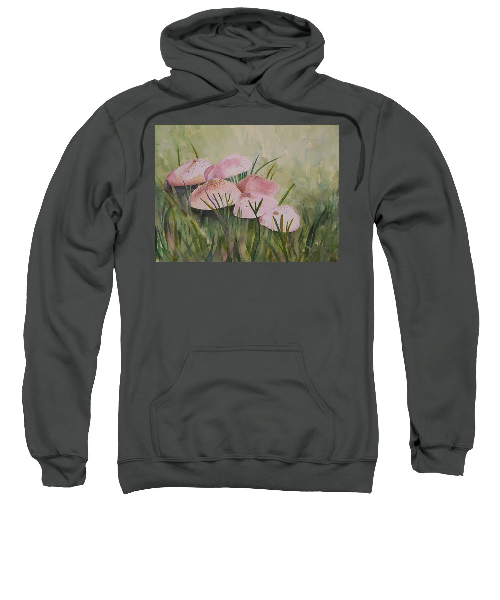Landscape Sweatshirt featuring the painting Mushrooms by Suzanne Udell Levinger