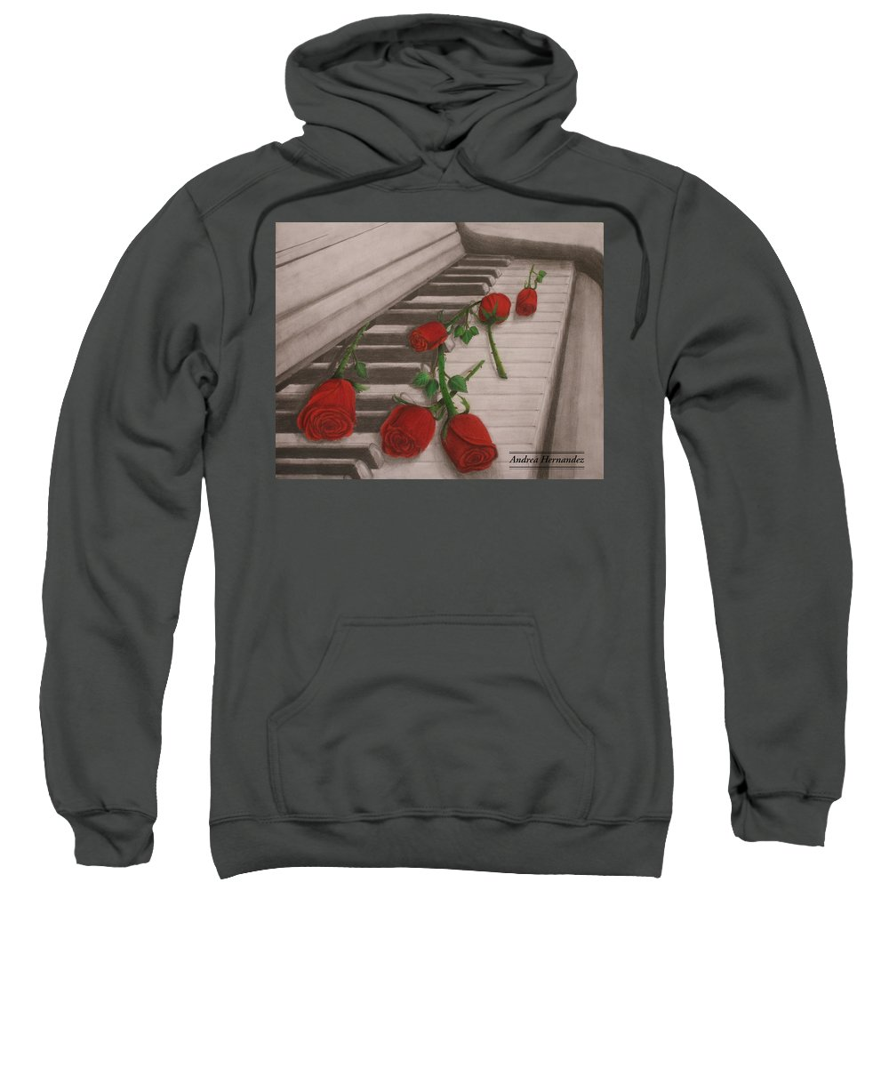 Piano Sweatshirt featuring the painting Music Creates Beautiful Things by Andrea Hernandez