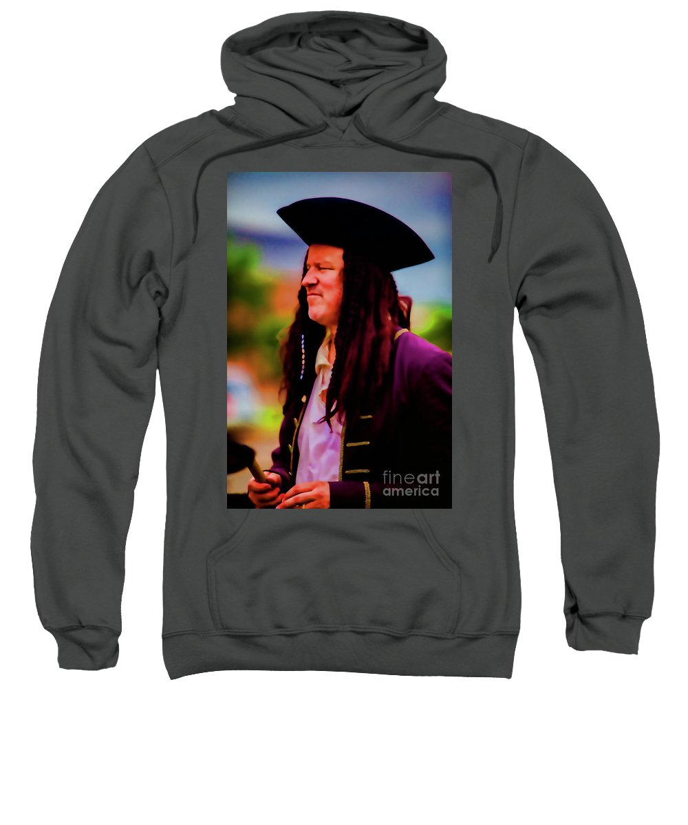Musician Sweatshirt featuring the photograph Musician In Pirate Hat And Dreadlocks - In Watercolor Photo by Doug Berry