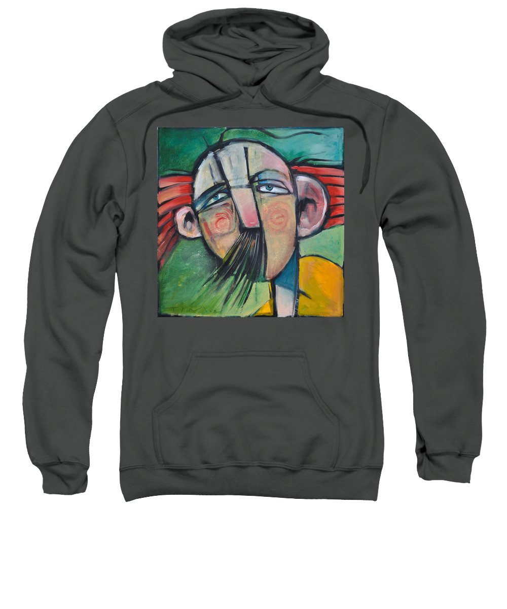 Humor Sweatshirt featuring the painting Mustached Man In Wind by Tim Nyberg