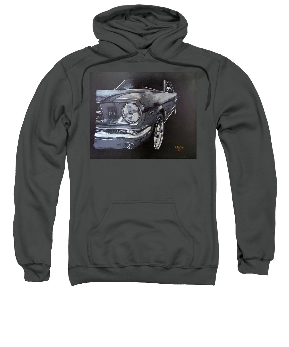 Mustang Sweatshirt featuring the painting Mustang Front by Richard Le Page