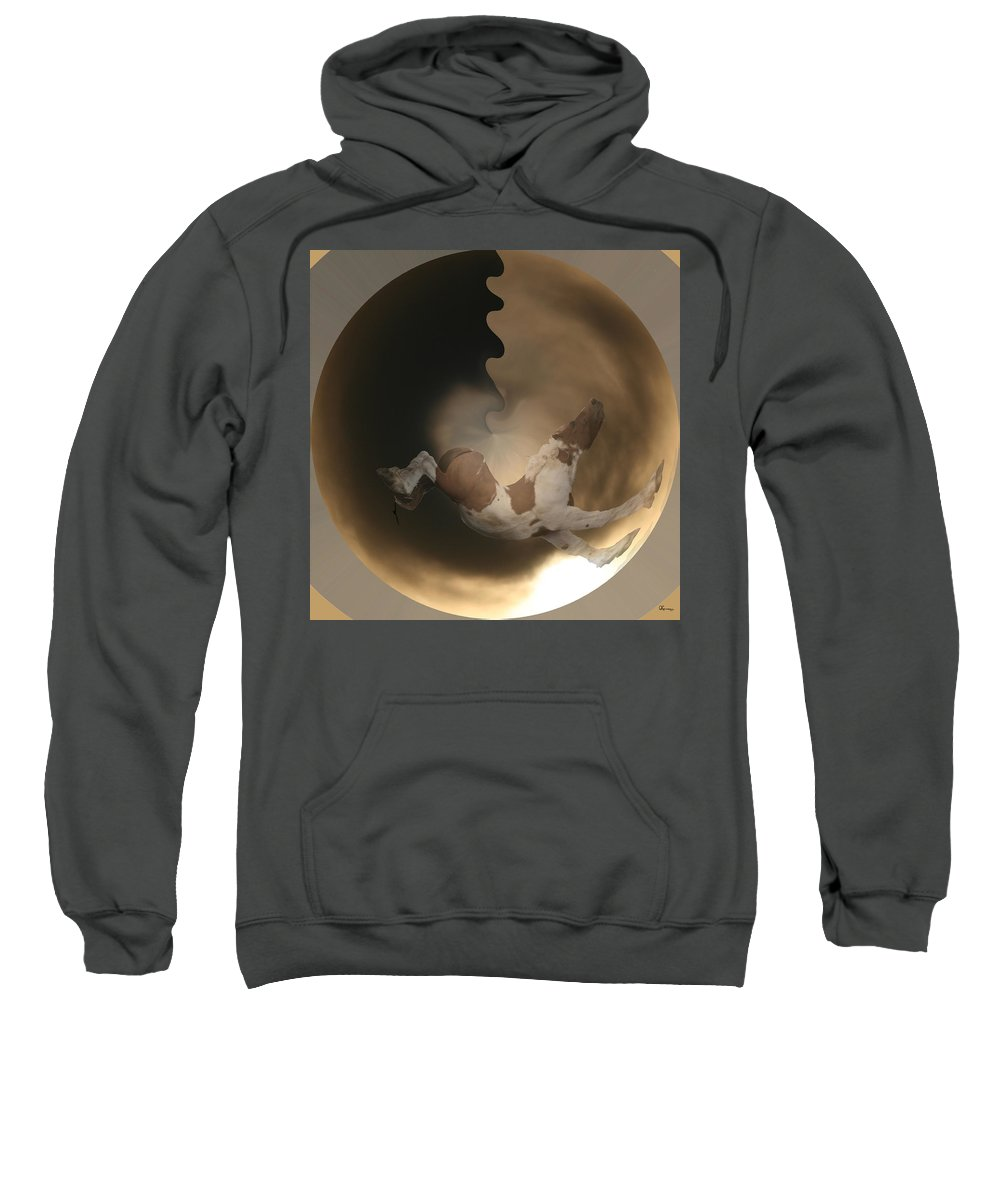 Paint Horse Wild Mustang Greeting Cards Horses Clouds Sky Abstract Pony Stallion Sweatshirt featuring the photograph Mustang Spirits by Andrea Lawrence