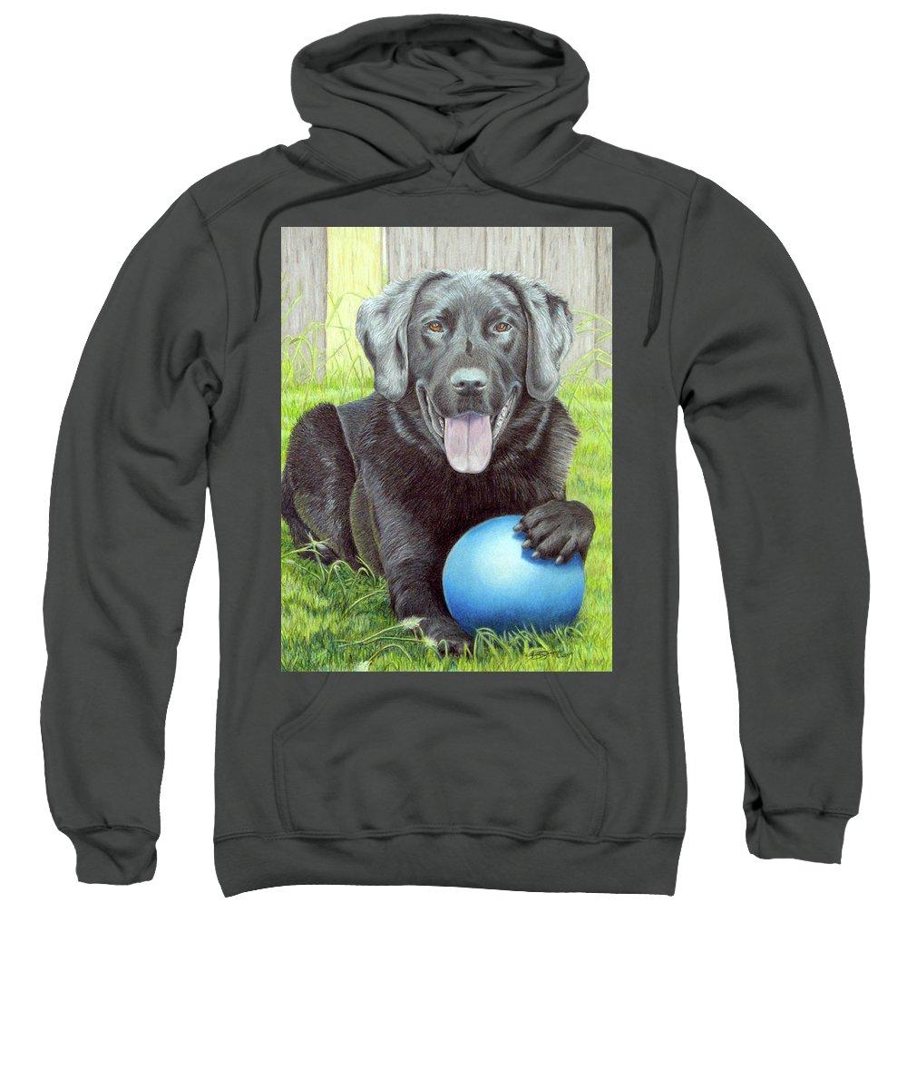 Fuqua - Artwork Sweatshirt featuring the drawing My Big Blue Ball by Beverly Fuqua
