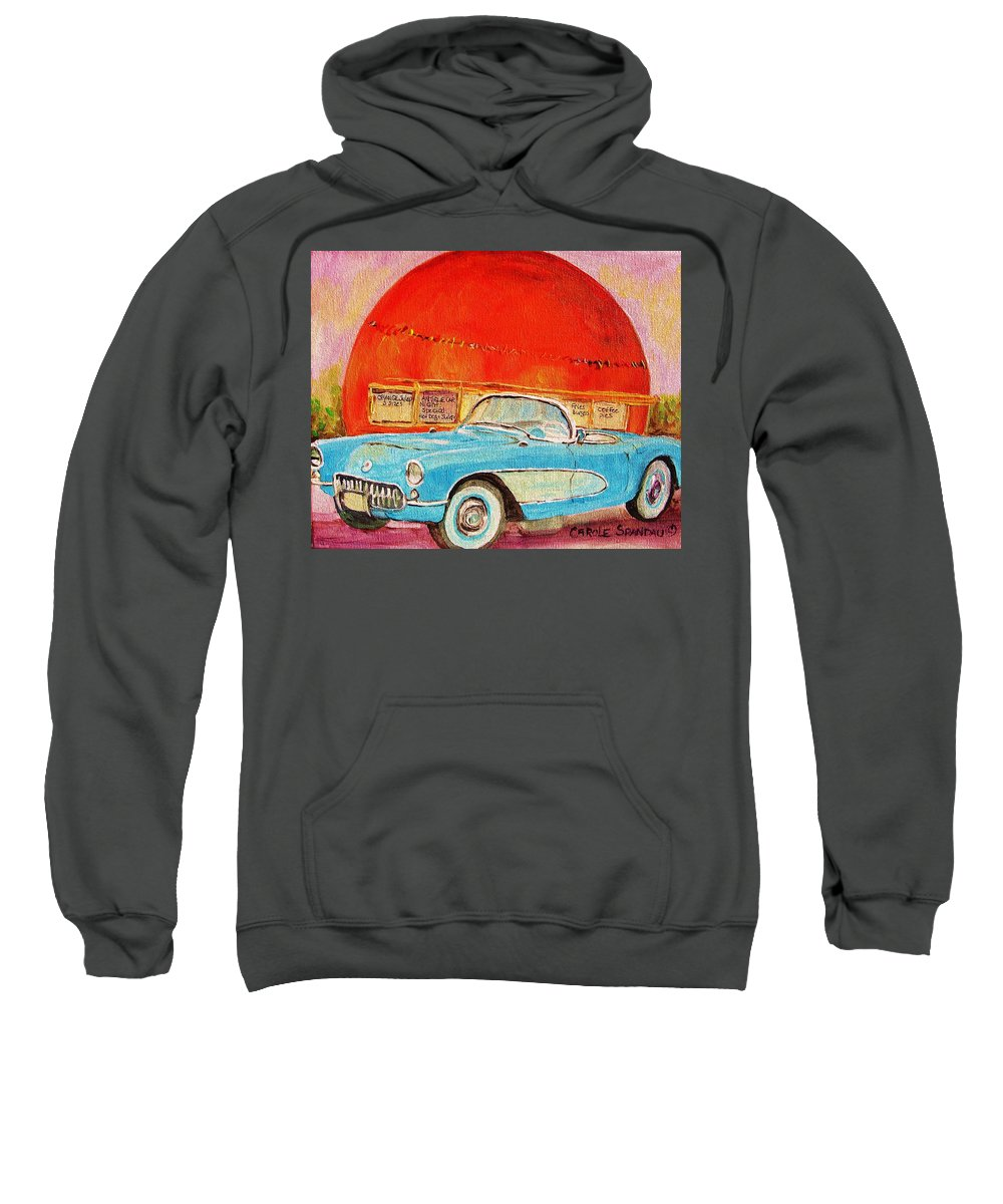 Montreal Sweatshirt featuring the painting My Blue Corvette At The Orange Julep by Carole Spandau