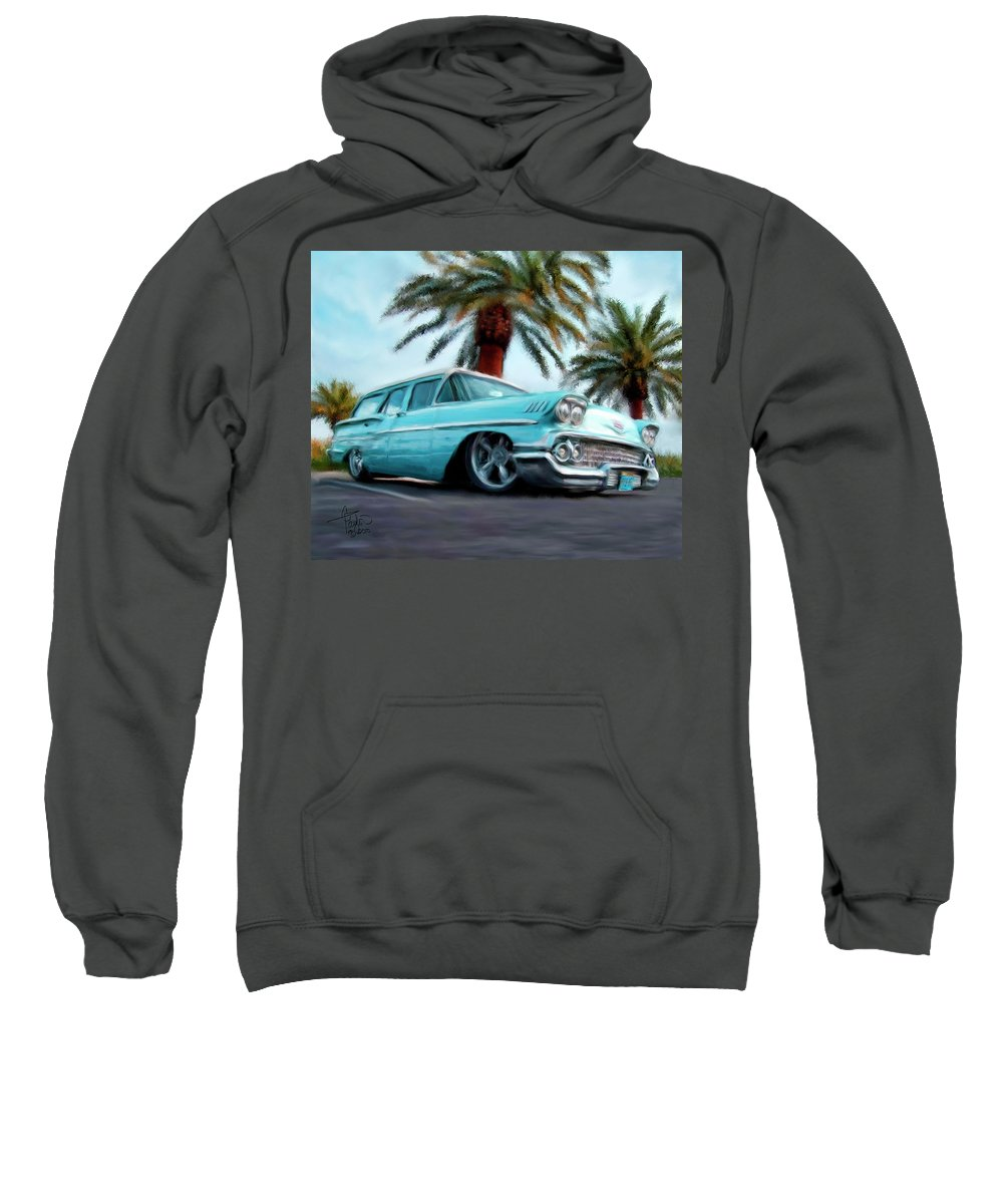 Cars Sweatshirt featuring the painting My Blue Heaven by Colleen Taylor