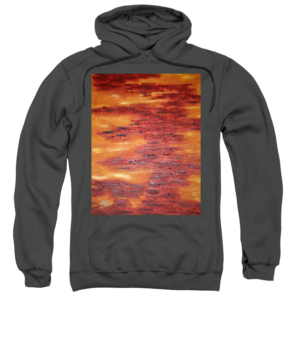 Orange Sweatshirt featuring the painting My Colors by Lisa Stanley