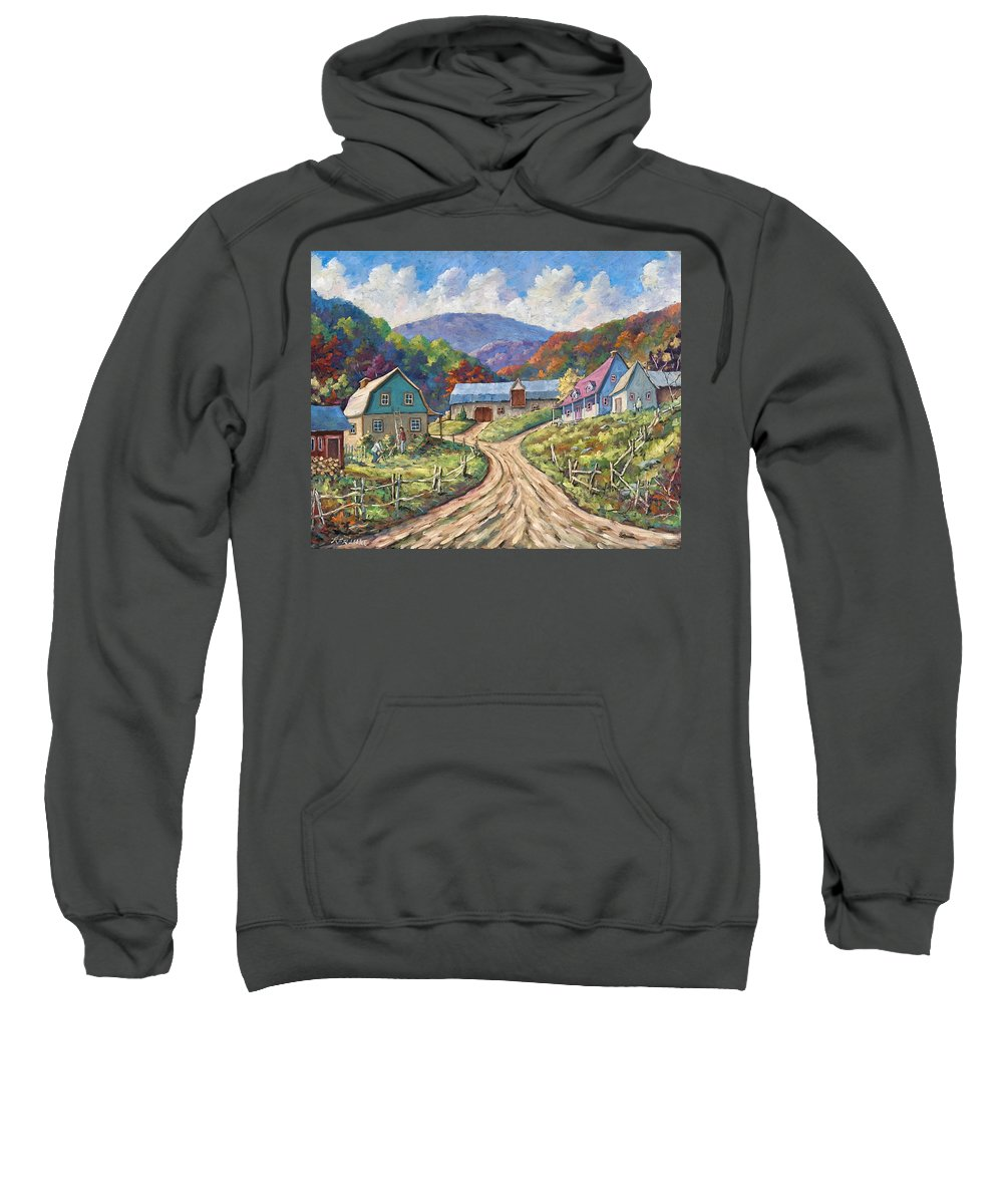 Country Sweatshirt featuring the painting My Country My Village by Richard T Pranke