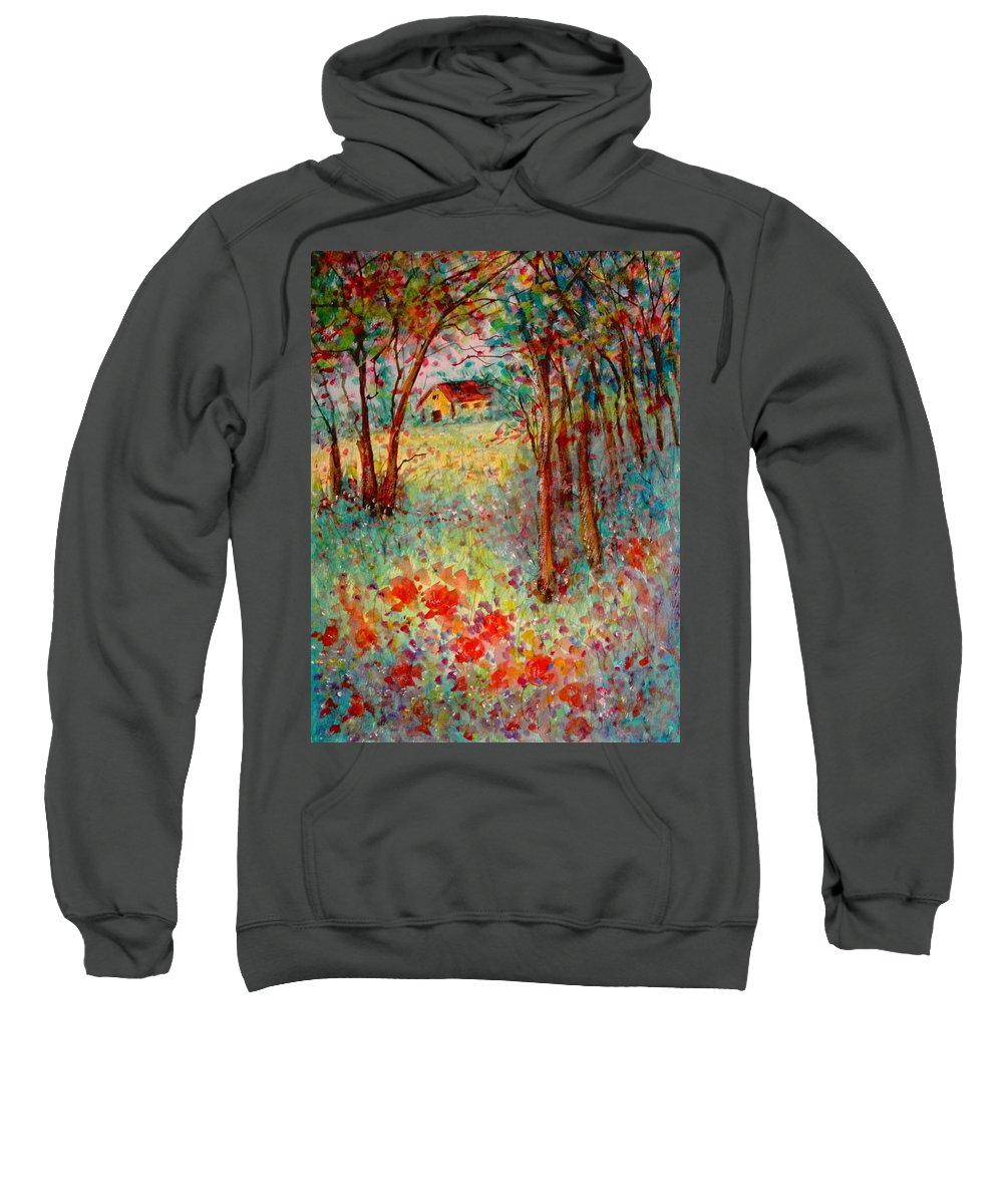 Nature Sweatshirt featuring the painting My Heavenly Hideout by Natalie Holland