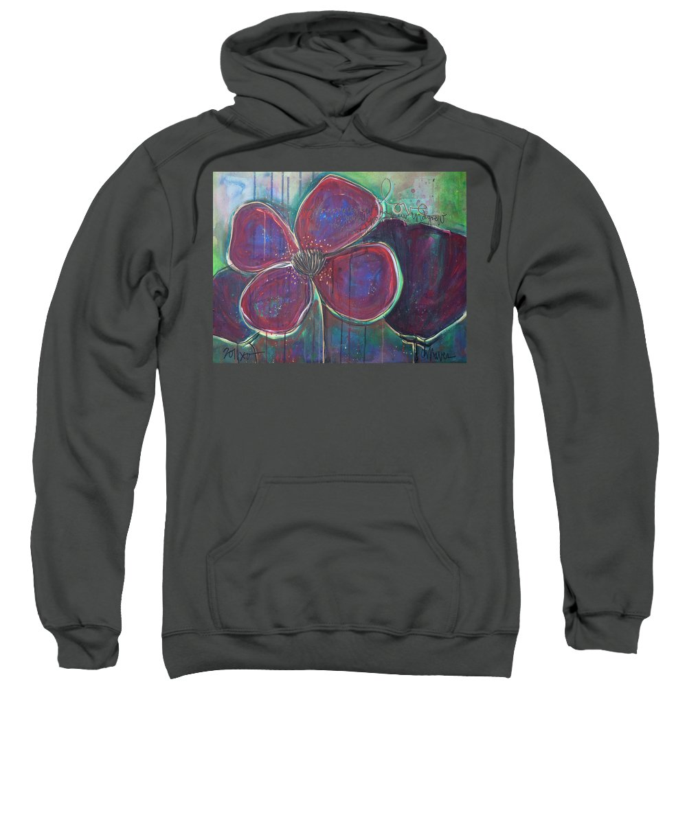 Poppies Sweatshirt featuring the painting My Love For You Grew And Grew by Laurie Maves ART