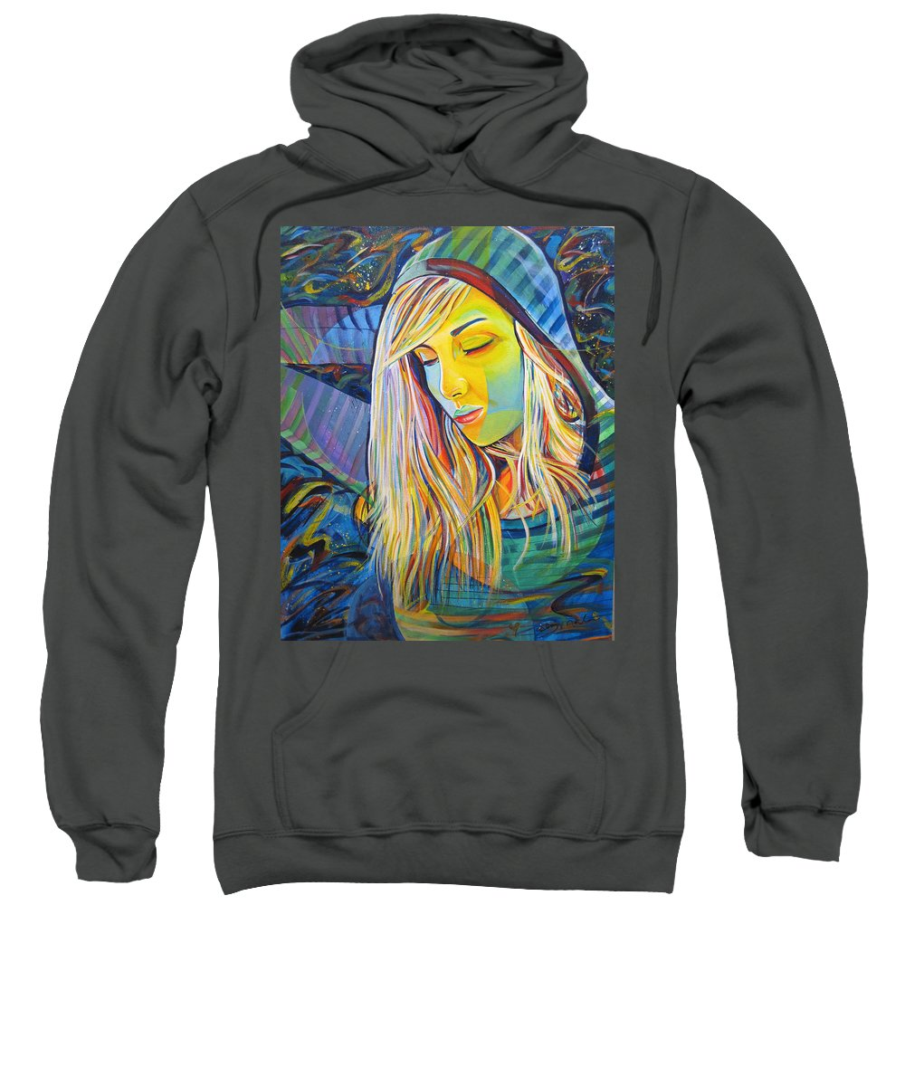 Colorful Sweatshirt featuring the painting My Love by Joshua Morton